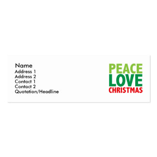 Peace Love Christmas Holiday Design Pack Of Skinny Business Cards