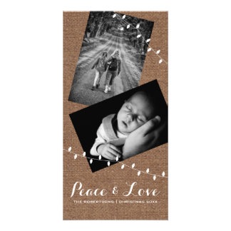 Peace & Love Christmas Photo Burlap Lights Card