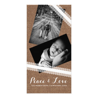 Peace & Love Christmas Photo Burlap White Lace Photo Greeting Card