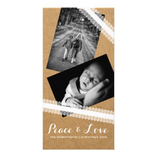 Peace & Love Christmas Photo Paper White Lace Personalised Photo Card