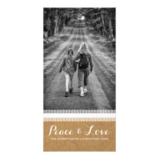 Peace & Love - Christmas Photo Paper White Lace v3 Customised Photo Card