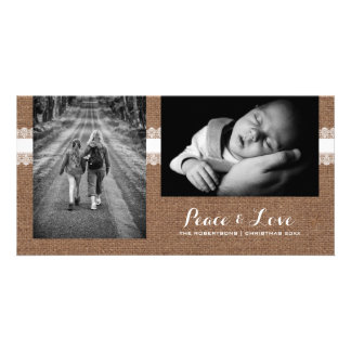 Peace & Love - Christmas Photo Rustic Burlap Lace Photo Greeting Card