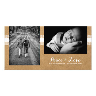 Peace & Love - Christmas Photo Rustic Paper Lace Picture Card