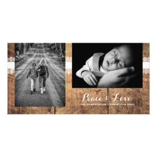 Peace & Love - Christmas Photo Rustic Wood Lace Customised Photo Card