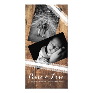 Peace & Love Christmas Photo Wood White Lace Personalized Photo Card