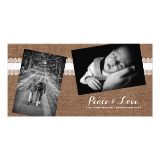 Peace & Love - Christmas Strewn Photos Burlap Lace Personalised Photo Card