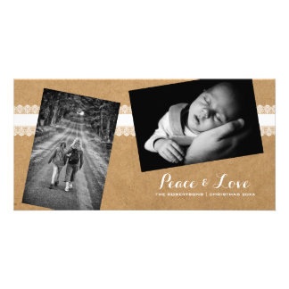 Peace & Love - Christmas Strewn Photos Paper Lace Photo Card