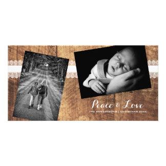 Peace & Love - Christmas Strewn Photos Wood Lace Photo Card Template