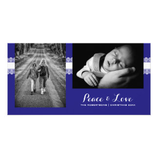 Peace & Love - Christmas Wishes Photo - Blue Lace Personalised Photo Card