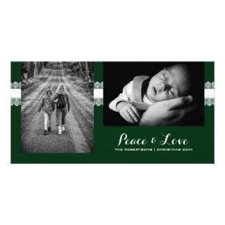 Peace & Love - Christmas Wishes Photo - Green Lace Custom Photo Card