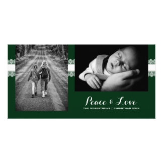 Peace & Love - Christmas Wishes Photo - Green Lace Photo Greeting Card