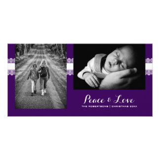 Peace & Love - Christmas Wishes Photo -Purple Lace Photo Card