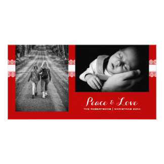 Peace & Love - Christmas Wishes Photo Red Lace Customised Photo Card