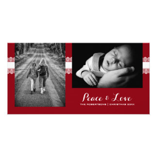 Peace & Love - Christmas Wishes Photo - Red Lace Picture Card