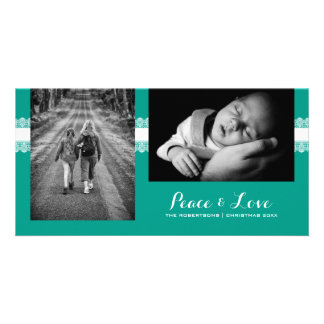 Peace & Love - Christmas Wishes Photo - Teal Lace Personalized Photo Card