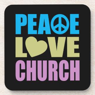 Peace Love Church Drink Coasters