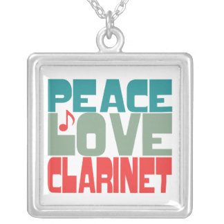 Peace Love Clarinet Square Pendant Necklace
