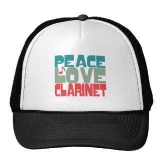 Peace Love Clarinet Trucker Hats
