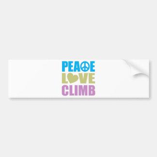 Peace Love Climb Bumper Sticker