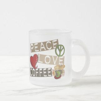 PEACE LOVE COFFEE 2 FROSTED GLASS MUG
