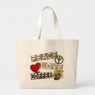 PEACE LOVE COFFEE 2 LARGE TOTE BAG