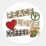 PEACE LOVE COFFEE 2 ROUND STICKER