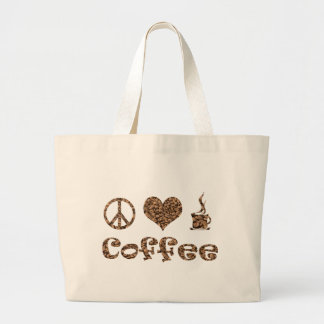 PEACE LOVE COFFEE CANVAS BAGS