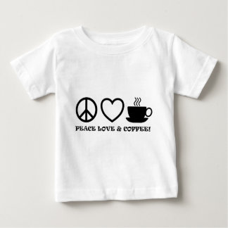 PEACE LOVE & COFFEE PICTURES BLACK BABY T-Shirt
