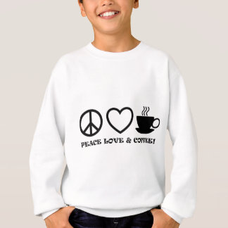 PEACE LOVE & COFFEE PICTURES BLACK SWEATSHIRT