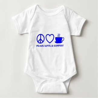 PEACE LOVE & COFFEE PICTURES BLUE BABY BODYSUIT