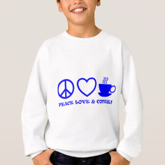 PEACE LOVE & COFFEE PICTURES BLUE SWEATSHIRT