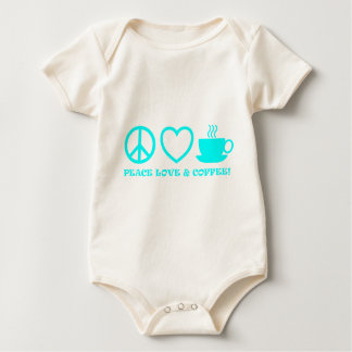 PEACE LOVE & COFFEE PICTURES CYAN AQUA BABY BODYSUIT