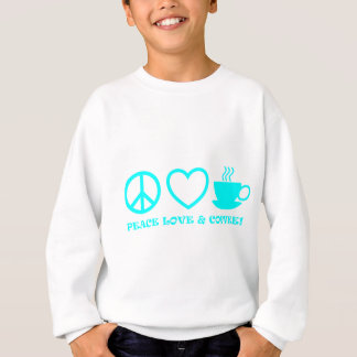 PEACE LOVE & COFFEE PICTURES CYAN AQUA SWEATSHIRT