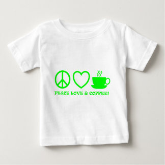 PEACE LOVE & COFFEE PICTURES GREEN BABY T-Shirt