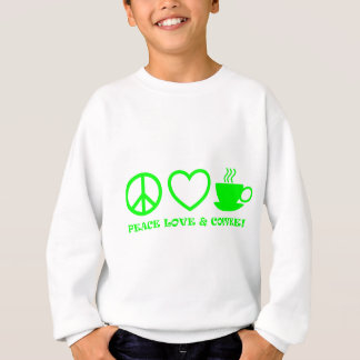 PEACE LOVE & COFFEE PICTURES GREEN SWEATSHIRT