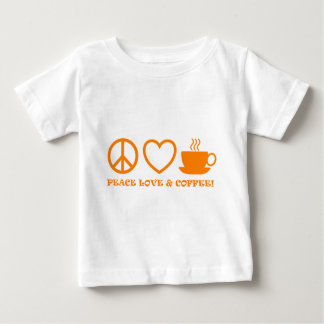 PEACE LOVE & COFFEE PICTURES ORANGE BABY T-Shirt