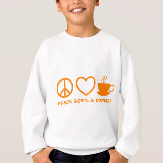 PEACE LOVE & COFFEE PICTURES ORANGE SWEATSHIRT