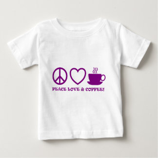 PEACE LOVE & COFFEE PICTURES PURPLE BABY T-Shirt