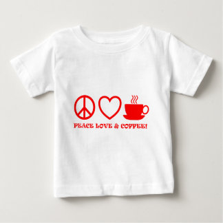 PEACE LOVE & COFFEE PICTURES RED BABY T-Shirt