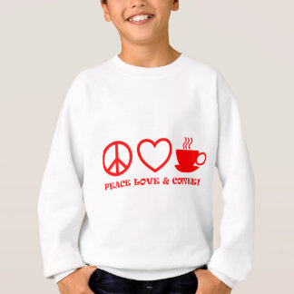 PEACE LOVE & COFFEE PICTURES RED SWEATSHIRT