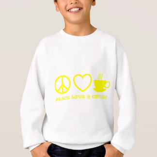 PEACE LOVE & COFFEE PICTURES YELLOW SWEATSHIRT