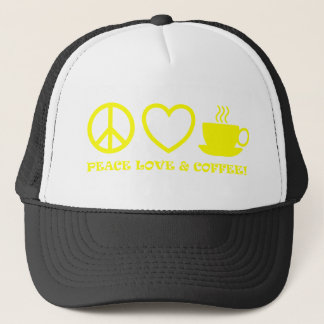 PEACE LOVE & COFFEE PICTURES YELLOW TRUCKER HAT