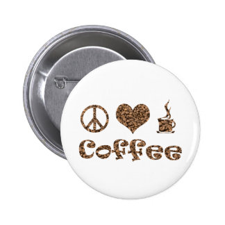 PEACE LOVE COFFEE PINBACK BUTTONS
