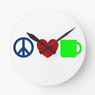Peace, Love, Coffee Round Clock