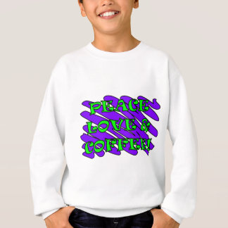 Peace Love Coffee Splat Green/Purple Zigzag Sweatshirt
