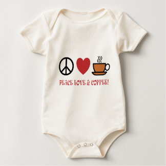 PEACE LOVE COFFEE SYMBOLS AND TEXT MUTED COLOURS BABY BODYSUIT