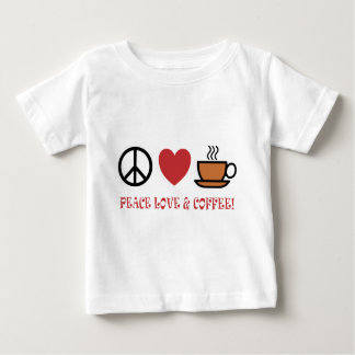 PEACE LOVE COFFEE SYMBOLS AND TEXT MUTED COLOURS BABY T-Shirt