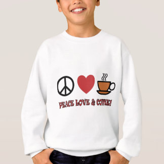 PEACE LOVE COFFEE SYMBOLS AND TEXT MUTED COLOURS SWEATSHIRT