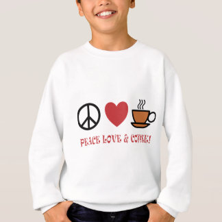 PEACE LOVE COFFEE SYMBOLS AND TEXT MUTED COLOURS W SWEATSHIRT