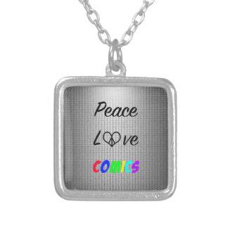 Peace, Love, Comics Necklace